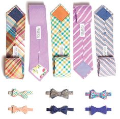 variety of patterned, rainbow-hued ties and bow ties