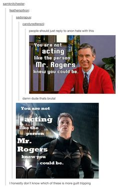 You are not acting like the person Mr. Rogers knew you could be. || Steve Rogers || #fanedit #humor