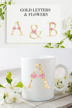 Blush florals alphabet, Gold foil alphabet with flowers Gold Letters, Monogram Letters, Graphic Illustration, Illustrations, Newsletter Templates, Gold Flowers, Line Design, Journal Cards, School Design