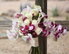 Purple and white orchid bridal bouquet