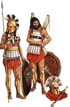 6th c. BC Greek warriors in linothorax armour