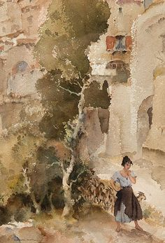 William Russell Flint - Woman with Goats