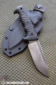 Miller Bros. Blades M-8 Compact. This model is available in Z-Wear PM, CPM 3V, CPM S35VN, Z-Tuff PM and 5160 steels Miller Bros. Blades Custom Handmade Knives, Swords & Tomahawks.