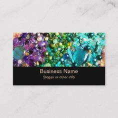 Shop Collection of Colorful Beads Business Card created by Mirribug. Personalize it with photos & text or purchase as is! Premium Business Cards, Salon Business Cards, Artist Business Cards, Unique Business Cards, Professional Business Card Design, Bead Shop, Beads, Colorful, Crafts