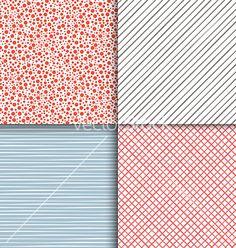 Geometric seamless patterns set simple textures vector on VectorStock