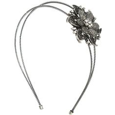 Faceted Metal Flower Headband ($7.50) ❤ liked on Polyvore featuring accessories, hair accessories, headbands, hair, jewelry, flower hair accessories, wet seal, flower headwrap, metal headbands and head wrap headband