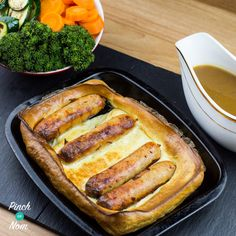 Low Syn Toad In The Hole Slimming World via Slimming World Dinners, Slimming World Recipes Syn Free, Slimming World Diet, Slimming Eats, Slimming World Sausages, Slimming World Lunch Ideas, Toad In The Hole, Slimmimg World, Healthy Snacks
