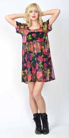 a135af50ff Vintage 90s Mesh Sheer Dolly Dress Grunge Black Floral Mini Red Pink S M