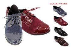 Retro Vintage Women Patent Faux suede Leather Lace Up  Oxford Shoes Brogue SHoes