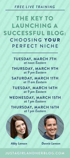 "This week, Abby from Just a Girl and Her Blog and her husband are holding a FREE training for new and soon-to-be bloggers on one of the most important parts of starting a blog: deciding what to write about (also known as your blogging ""niche"").  Click here to register for a time that works for you! #aff"