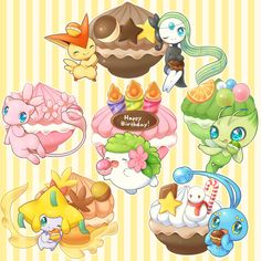 Tags: Pokémon, Pixiv, Mew, Jirachi, Manaphy, Shaymin, Celebi, Victini, Aimi (Pixiv397331), Legendary Pokemon, Meloetta