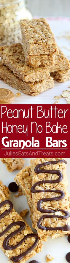 Peanut Butter Honey No Bake Granola Bars ~ Easy, No Bake Granola Bars are Flavor. Peanut Butter Honey No Bake Granola Bars ~ Easy, No Bake Granola Bars are Flavored with Peanut Butter and Sweete. Granola Bars Peanut Butter, No Bake Granola Bars, Reeses Peanut Butter, Peanut Bar, Just Desserts, Delicious Desserts, Yummy Food, Delicious Chocolate, Chocolate Syrup