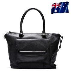 New Mimco Montage Tote Bag Handbag Black Luxe Large Shoulder Leather Bag