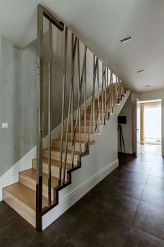 Distinctive railing of the staircase in wood
