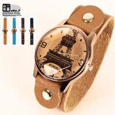 Eiffel Tower-Print Strap Watch
