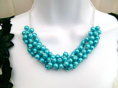 Turquoise Blue Beaded Necklace Turquoise Bridesmaid by KIMMSMITH
