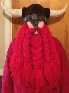 Crocheted viking hat and beard.  Awesome!