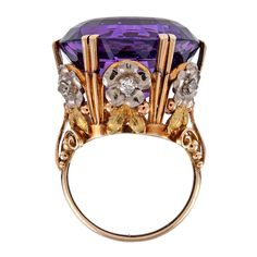 Victorian 'Tri-Gold' Amethyst Diamond Antique Cocktail Ring, circa 1880