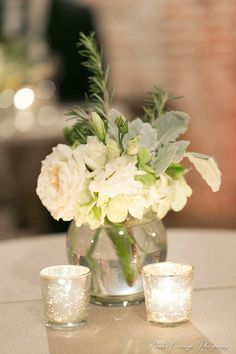 Lambs ear & rose cocktail flowers. (Design by Lee Forrest Design, photo by: Amalie Orrange Photography)