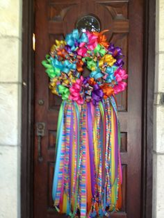 Fiesta Wreaths from San Antonio made of yards and yards of ribbon bows. Viva Fiesta.
