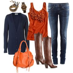 Gorgeous fall colors; Burnt Orange & Navy
