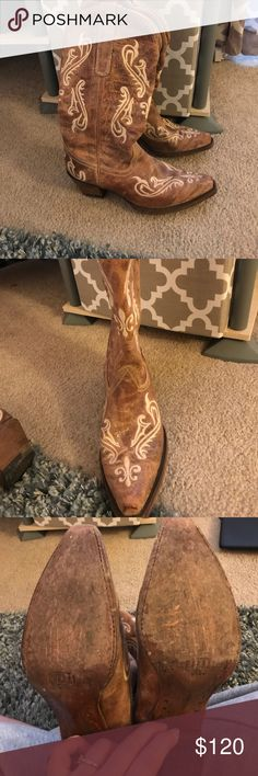 Woman's Corral Boots Only worn twice to concerts. Super cute. Tan with a cream design. Excellent condition. Worn on bottom just where they are wooden. Would be great for summer concerts. Will consider reasonable offers through the offer button. corral Shoes