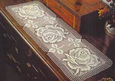 Filet Crochet Table Cloth - Three Roses