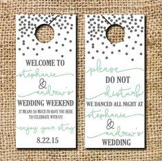 Free wedding door hanger printable. Make your own door hanger for ...