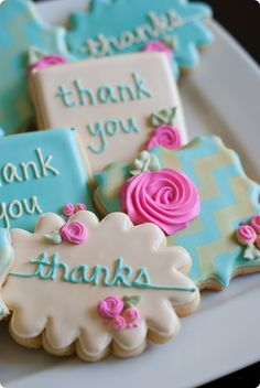 Gold chevron stenciled floral thank you cookies from  Bake at 350 by Bridget Edwards