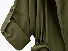 [Leia] Green-Hooded-Drawstring-Waist-Loose-Coat