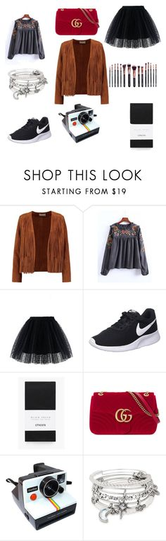 """Bez naslova #198"" by summer670 ❤ liked on Polyvore featuring Sandro, Chicwish, NIKE, Chico's, Gucci, Polaroid, Alex and Ani and M.O.T.D Cosmetics"