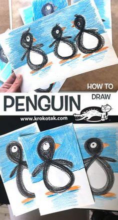 krokotak | penguin Winter Art Projects, Winter Crafts For Kids, Winter Kids, Kindergarten Art, Preschool Crafts, Kids Crafts, Winter Activities, Activities For Kids, Drawing Activities