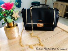 Sac Quadrille en simili noir et passepoil doré cousu par Laeticia - Patron Sacôtin