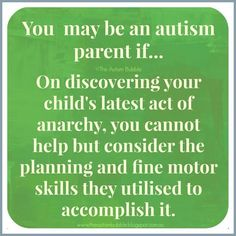 You may be an autism parent if... On discovering your child's latest act of anarchy, you cannot help but consider the planning and fine motor skills they utilized to accomplish it. - @TheAutismBubble