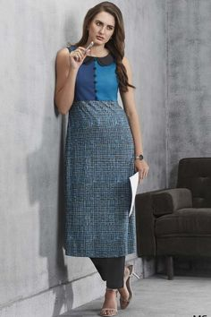 Look playful and girly in this shaded blue salwar suit.The ensemble features a checkered printed kameez that is straight cut, with layered peter pan collar and plain cotton pants in black. Cotton Pants, Straight Cut, Printed Cotton, Collars, Midi Skirt, High Waisted Skirt, Girly, Skirts, Blue
