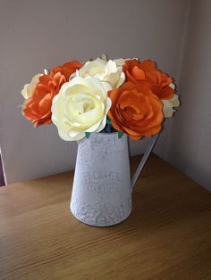 Flower Bouquet with Watering Can ( 12 Handmade Card Flowers ) Any Colours £15 (£5 P&P )  www.sammys-crafts.co.uk