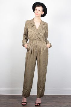 Vintage 80s Gold Jumpsuit V Neck Wrap Style Slouch Top 1980s Jumpsuit Mustard Gold Leaf Brocade Wide Leg Pants Romper Playsuit S M Medium by ShopTwitchVintage #1980s #80s #romper #playsuit #onesie #jumper #jumpsuit #vintage #etsy