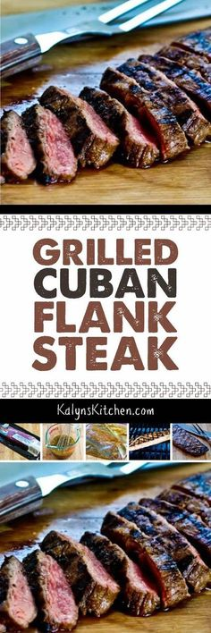 Grilled Cuban Flank Steak starts with a tasty marinade that's loaded with Cuban flavors; then the flank steak is grilled for a delightful main dish that's low-carb, Keto, low-glycemic, gluten-free, and South Beach Diet friendly. And if you switch the soy Cuban Recipes, Meat Recipes, Low Carb Recipes, Cooking Recipes, Flank Steak Recipes, Cuban Cuisine, Grilled Meat, Grilled Cauliflower, Barbecue
