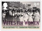 Votes For Women £1.40 Stamp (2018) Welsh Suffragettes, Coronation Procession, 1911