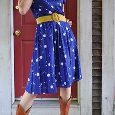 modeling a dress for my friend's vintage shop.