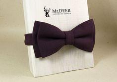 Dark Purple Wine Violet Bow Tie - Bow ties for men - Adult Bow Tie - Mens bowtie - Groomsman, Rustic, Boho Wedding Bow Tie  - Mr.DEER