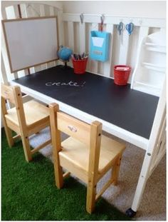 Crib turned into desk. Brilliant!