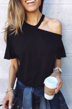 Sexy One Shoulder T Shirts Women Fashion Butterfly Sleeve Black Shirt Tops Summer Casual Gebleichte Shirts, Diy Cut Shirts, T Shirt Diy, Casual T Shirts, Casual Tops, Band Shirts, Men Casual, T Shirt Cut Out, How To Cut Tshirt