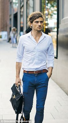 Stylish: A Londoner offers a new take on the classic jeans and blue shirt combo...