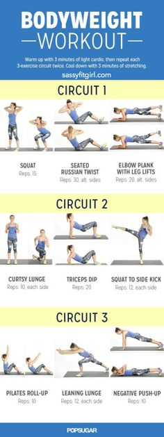 Bodyweight Workout for Women Found this awesome... | Sassy Fit Girl