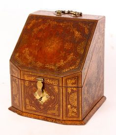 Antiques Atlas - A Good Century Tooled Leather Stationary Box. Tooled Leather, Leather Tooling, Vintage Writing Desk, Stationary Box, Antique Boxes, Antique Furniture, 19th Century, Decorative Boxes, Stationery