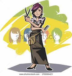 A beautician hairdresser with a scissor and a comb. by npine, via Shutterstock