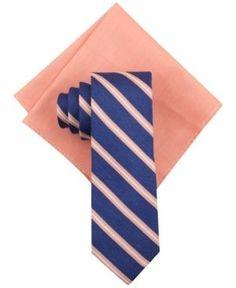 Tallia Men's Mith Stripe Tie and Solid Pocket Square Set  - Orange