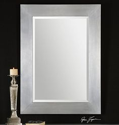"""Modern Silver Aluminum Beveled Wall Mirror Large 45"""" -- Awesome products selected by Anna Churchill"""
