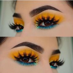 Tropical makeup, blue and yellow eyeshadow .- Tropisches Make-up, blauer und gelber Lidschatten – makeup Tropical makeup, blue and yellow eye shadows – make up… – - Yellow Makeup, Yellow Eyeshadow, Colorful Eye Makeup, Makeup Eyeshadow, Eyeshadow Palette, Colorful Eyeshadow, Makeup Palette, Summer Eye Makeup, Blue Eyeshadow Looks